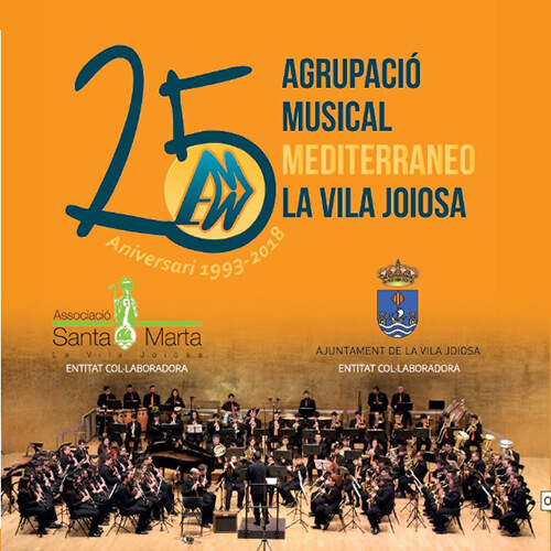 """Portada CD 18 """"XXV Aniversari"""" 1993-2018/ Agrupació Musical Mediterraneo La Vila Joiosa"""